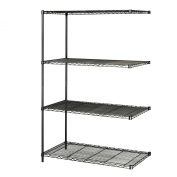 SAFCO PRODUCTS COMPANY Add-On Unit,f/Wire Shelving,4 Shelves/2 Posts,48x24, Black