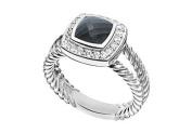 FineJewelryVault UBRT9W14DBOX-101 Black Onyx and Diamond Rope Ring : 14K White Gold - 5.50 CT TGW - Size