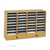 Safco 9494MO 32 Adjustable Compartments Wood Literature Organiser with 2 Drawers in Medium Oak
