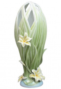 Unicorn Studios AP20083AA Vase interlaced Leaves at Mouth and Yellow Lilies