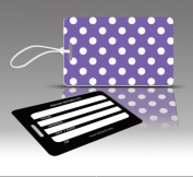 Insight Design 770677 TagCrazy Luggage Tags- Purple and White Polka Dots- Set of Three