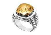 FineJewelryVault UBRT14W14CCT-101 Citrine Rope Ring : 14K White Gold - 10.00 CT TGW - Size