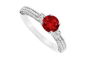 FineJewelryVault UBJS3133AW14DR-110 Ruby and Diamond Engagement Ring : 14K White Gold - 1.00 CT TGW - Size 7
