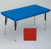 Correll Ar2448-Rec-25 Rectangular Blow-Molded Activity Tables - Standard Legs - Red