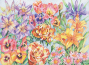 Reeves Floral Montage Coloured Pencil by Numbers, Large