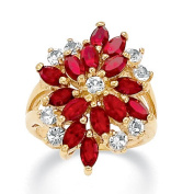 PalmBeach Jewelry 185108 Marquise-Cut Red Crystal and Round White Crystal 14k Yellow Gold-Plated Cocktail Ring - Size 8