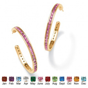 PalmBeach Jewelry 4751706 Round Simulated Birthstone 14k Yellow Gold-Plated Channel-Set Hoop Earrings June - Simulated Alexandrite
