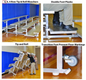 SSG-BSN TR0208 2 Row 2.4m Tip And Feet Roll Bleacher - Seats 10