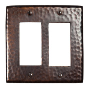 The Copper Factory Solid Hammered Copper Double GFCI Plate in Antique Copper Finish - CF124AN