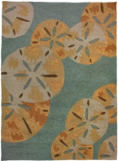 Home Fires PP-CY001J 26 in. x 60 in. Sanddollars By The Sea Indoor Outdoor Hand Hooked Area Rug - Blue