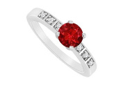 FineJewelryVault UBJS3091AW14DR-110 Ruby and Diamond Engagement Ring : 14K White Gold - 0.60 CT TGW - Size 7