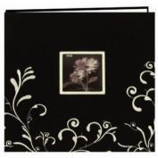 Scroll Embroidery Fabric Post Bound Album 30cm x 30cm -Black W/White