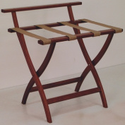 Wooden Mallet LR4-MHTAN WallSaver Luggage Rack in Mahogany with Tan Webbing