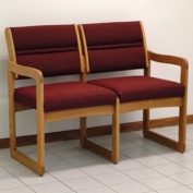 Wooden Mallet DW2-2MOCB Valley Two Seat Sofa in Medium Oak - Cabernet Burgundy