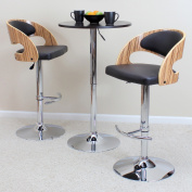 Lumisource BS-JY-PN ZB-BN Pino Bar Stool - Zebra Wood plus Brown