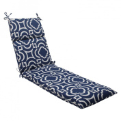 Pillow Perfect 500829 Outdoor Carmody Chaise Lounge Cushion in Navy - Blue-White