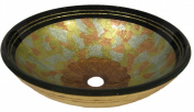 Novatto NOHP-G020 CELEBRAZIONE Light Yellow Blue and Pink with Variegated Brown Center Hand Painted Glass Vessel Sink 16.5-Inch Diameter