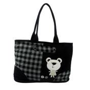 Blancho Bedding K291-BLACK White Bear Canvas Shoulder Tote Bag / Shopper Bag
