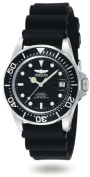 Invicta 9110 Mens Automatic Pro Diver in Stainless Steel on a Black Rubber Strap With a Black Dial