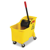 Rubbermaid Commercial 640-7380-00-YEL 29.3l Tandem Bucket& Wringer Yellow