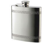 Aeropen International FK-1808 240ml Chequered Pattern Border Shiny Stainless Steel Flask