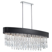 Dainolite JMS368-PC-770 8 Light Oval Crystal Chandelier with Black Lizagator Micro Shade