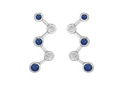 FineJewelryVault UBER1620W14DS-101 Blue Sapphire and Diamond Earrings : 14K White Gold - 1.00 CT TGW