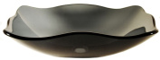 Novatto TIS-317G RETTANGOLARE Clear Grey Fluted Oblong Glass Vessel Sink 20 Inches Wide Black