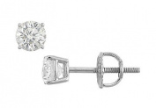 FineJewelryVault UBER18WH4RD033DSI-101 18K White Gold : Round Diamond Stud Earrings - 0.33 CT. TW.