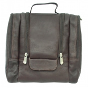 Piel 2460-CHC Leather Travel Toiletry Utility Kit with Elastic Straps - Chocolate