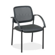 Lorell LLR60462 Guest Chairs- 24in.x23-.50in.x32-.75in.- Black Faux Leather Seat