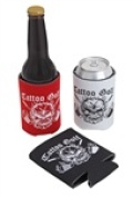 Tattoo Golf A026-B Collapsible Coozies with Skull Design - Black, 5-pack
