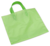 Bags & Bows by Deluxe H12CG Citrus Green Frosted Economy Shoppers with 4 Bottom Gusset - Case of 250