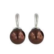 Vera and Co 2S-5745BR Sterling 12mm Faux Brown Pearl Post Drop Earring