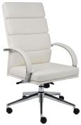 Boss Aaria Executive Series Vinyl High-Back Chair, Cream