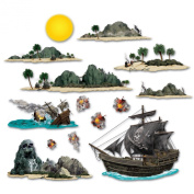 Beistle - 52013 - Pirate Ship And Island Props- Pack of 12