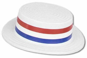Beistle 66781 - White Plastic Skimmer With Red-White-Blue Band - Pack of 24
