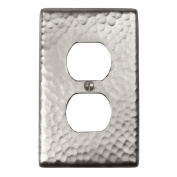The Copper Factory Solid Hammered Copper Single Duplex Receptacle Plate in Satin Nickel Finish - CF122SN