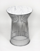 Kirch FB919TMWHT Mid Century Side Table with White Carrera Style Marble Top