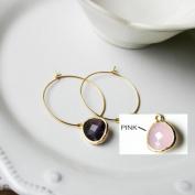 Rebecca HLSGP Hoop Stone - Gold-Pink