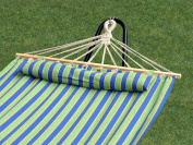 Bliss Hammocks BH-404D Bliss Tequila Sunrise Hammock With Pillow - 48 Inches Wide - Green Blue Yellow Stripe