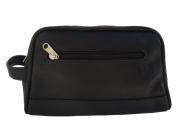 Piel 7752-BLK Top Zip Toiletry Kit in Leather - Black