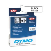 Dymo Corporation DYM45021 DYMO D1 Electronic Tape- .50in.x23ft. Size- White-Black