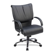 Lorell LLR69515 Mid-Back Chair- Leather- 27in.x27in.x42-.50in.- Black