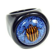 Ed Speldy East R0015-6 Striped Sheild Bug Black Ring with Shiny Blue Back - Size 6