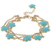 Zirconmania 610B-2568-TQ-G Goldtone Turquoise Enamel Three Strand Bracelet