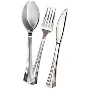 Silver-Tone Plastic Cutlery, Set of 24