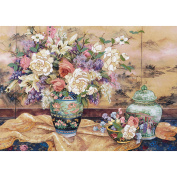 """Dimensions """"Oriental Splendour"""" Crewel Kit, 50cm x 36cm , Stitched In Wool and Yarn"""