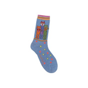 K Bell 85075 Laurel Burch Socks-Polka Dot Leopard-Denim