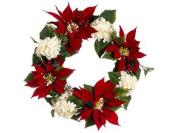 60cm La Costa Red Poinsettia & White Hydrangea Holly Artificial Christmas Wreath